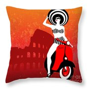 Vespa Girl Throw Pillow