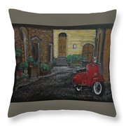 Vespa In The Rain Throw Pillow by Richard Le Page