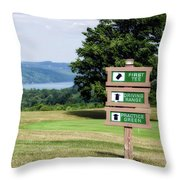 Vesper Hills Golf Club Tully New York 1st Tee Signage Throw Pillow