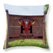 Vesper Hills Golf Club Tully New York Signage Throw Pillow