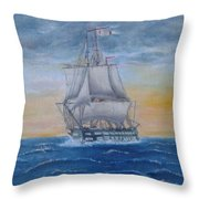 Vessel At Sea Throw Pillow