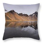 Vestrahorn Mountain In Stokksnes Iceland Throw Pillow