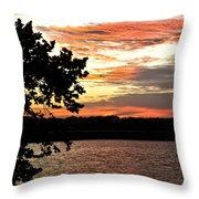 Veteran's Lake Sunset Throw Pillow
