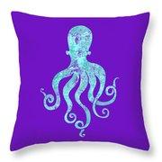 Vibrant Blue Octopus Beach House Coastal Art Throw Pillow