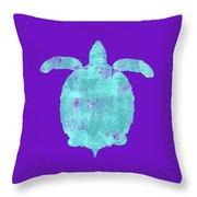 Vibrant Blue Sea Turtle Beach House Coastal Art Throw Pillow