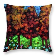 Vibrant Forest Throw Pillow