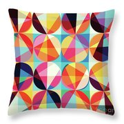 Vibrant Geometric Abstract Triangles Circles Squares Throw Pillow