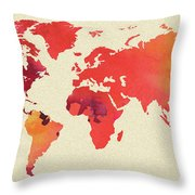 Vibrant Hot Watercolor World Map Throw Pillow