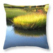 Vibrant Marsh Grasses Throw Pillow