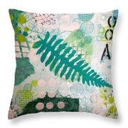 Vibrant Meadow Fern Throw Pillow