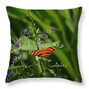 Vibrant Oak Tiger Butterfly Surrounded By Blue Flowers Throw Pillow