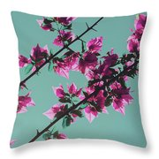 Vibrant Pink Flowers Bloom Floral Background Throw Pillow