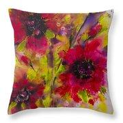 Vibrant Pink Poppies Throw Pillow