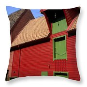 Vibrant Red And Green Building Throw Pillow