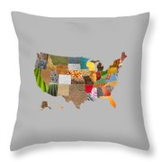 Vibrant Textures Of The United States Throw Pillow