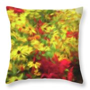 Vibrant Yellow Daisies And Red Garden Flowers Throw Pillow