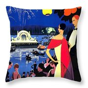 Vichy, Firework At Celebration Night Throw Pillow