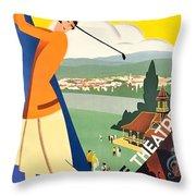 Vichy, Sport Tourism, Woman Play Golf Throw Pillow