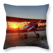 Vicky Benzings 1942 Boring Stearman At Livermore Throw Pillow