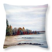 Victoria Beach In Manitoba Throw Pillow
