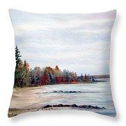 Victoria Beach In Manitoba Throw Pillow