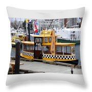 Victoria Water Taxi Throw Pillow
