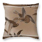 Victorian Birds In Sepia Throw Pillow