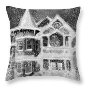 Victorian Christmas Black And White Throw Pillow