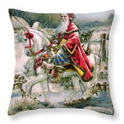 Victorian Christmas Card Depicting Saint Nicholas Throw Pillow