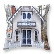 Victorian Cottage Watercolor Throw Pillow by Edward Fielding