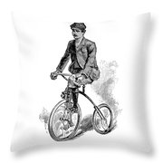 Victorian Gentleman Cycling Throw Pillow