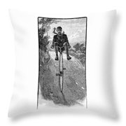 Victorian Gentleman On A Penny-farthing Throw Pillow