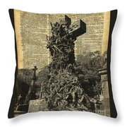 Victorian Gothic Graves Over Antique Dictionary Book Page Throw Pillow