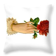 Victorian Hand And Rose Throw Pillow