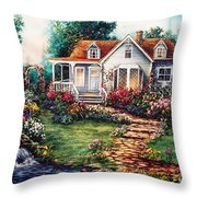 Victorian House With Gardens Throw Pillow