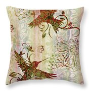 Victorian Humming Bird Pink Throw Pillow by JQ Licensing