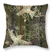 Victorian Hummingbird Green Throw Pillow