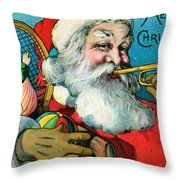 Victorian Illustration Of Santa Claus Holding Toys And Blowing On A Trumpet Throw Pillow