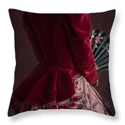Victorian Lady In A Red Bussle Ensemble Throw Pillow