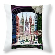 Victorian London - London Underground, London Metro - Retro Travel Poster - Vintage Poster Throw Pillow