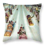 Victorian Poster Of Night Sledding Throw Pillow