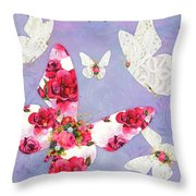 Victorian Wings, Fantasy Floral And Lace Butterflies Throw Pillow