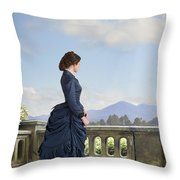 Victorian Woman In A Blue Dress Standing On The Terrace  Throw Pillow