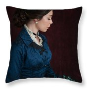 Victorian Woman Portrait In Profile  Throw Pillow