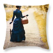Victorian Woman With A Wicker Shopping Basket Throw Pillow