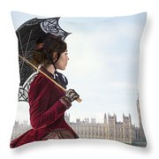 victorian woman with parasol in 19th century London  Throw Pillow