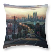 Victory Boulevard At Dawn Throw Pillow by Sarah Yuster