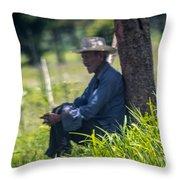 Viejo Cuidando El Ganado 1 Throw Pillow