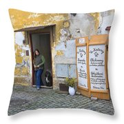Vienna Girl And Dog Throw Pillow