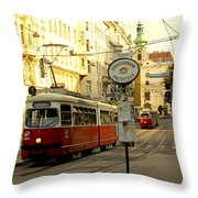 Vienna Streetcar Throw Pillow